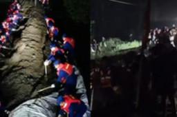 消防战士连夜筑坝应对洪峰过境